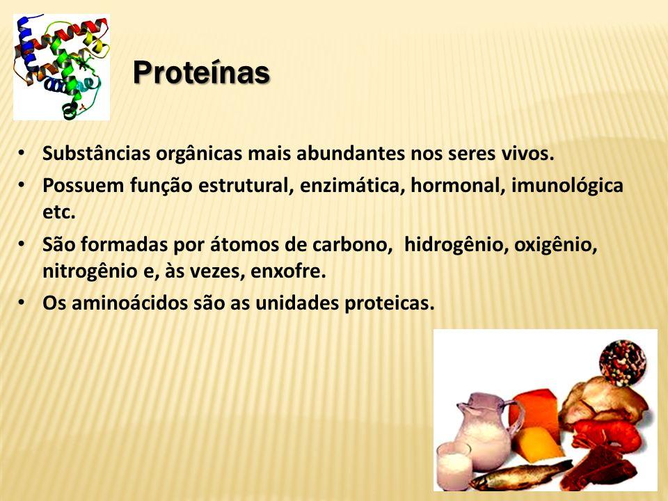 Proteínas Cada aminoácido é composto por um carbono alfa, um grupamento amina e um grupamento carboxila.