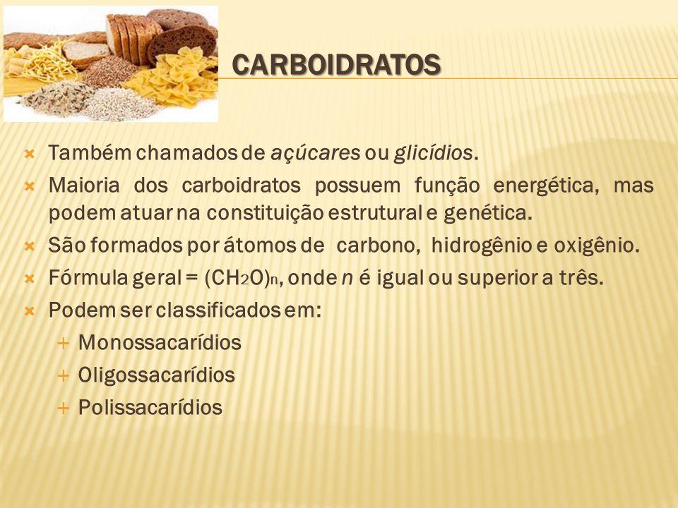 Menores moléculas de carboidratos.