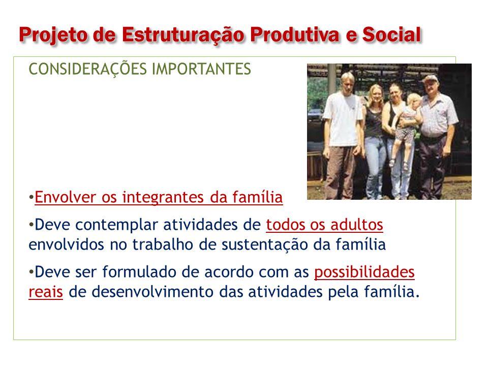 CONSIDERAÇÕES IMPORTANTES Diversidade: agrícolas e não agrícolas.