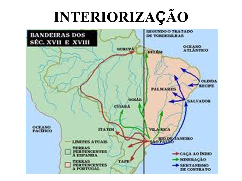 Interessante lembrar que quando houve a União Ibérica, ficou estabelecido que a administração portuguesa manteria no Brasil o monopólio do comércio, o pacto colonial e a administração dos portos Os espanhóis tiveram facilitado seu estabelecimento no Brasil, o que de fato não ocorreu Em contrapartida, foram afastados os impedimentos que proibiam a ultrapassagem da linha de Tordesilhas pelos portugueses, o que possibilitou a conquista por parte dos entradistas e bandeirantes, do Sul, Sudeste, Centro-Oeste e Amazônia, praticamente triplicando a superfície do Brasil Assim, centenas de povoados e cidades foram surgindo, expandindo o comércio, a pecuária no sul da colônia e a mineração, e integrando as regiões do Brasil Portugal, interessado em povoar o sul da colônia, pois a região do Prata era estratégica, fundou Sacramento, na margem esquerda daquele rio, dando origem a uma série de conflitos com a Espanha, que os diversos tratados tentarão resolver Além disso, aos poucos os portugueses vão fundando outras cidades na região, em teoria, pertencente à Espanha (Florianópolis, Porto Alegre, Rio Grande, Laguna,...) CONCLUSÃO: O bandeirantismo foi um mal necessário para o Brasil