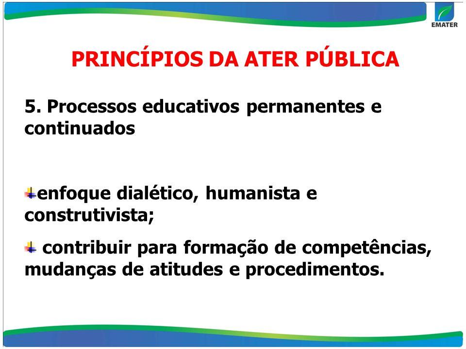 5. Processos educativos permanentes e continuados enfoque dialético, humanista e construtivista; contribuir para formação de competências, mudanças de