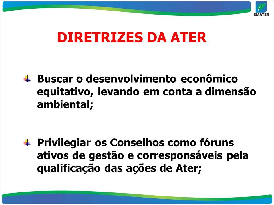 DIRETRIZES DA ATER Buscar o desenvolvimento econômico equitativo, levando em conta a dimensão ambiental; Privilegiar os Conselhos como fóruns ativos d