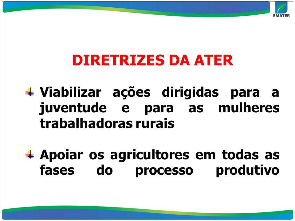 Viabilizar ações dirigidas para a juventude e para as mulheres trabalhadoras rurais Apoiar os agricultores em todas as fases do processo produtivo DIR
