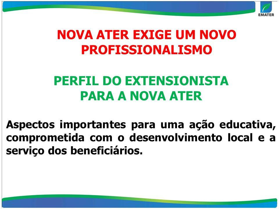 NOVA ATER EXIGE UM NOVO PROFISSIONALISMO PERFIL DO EXTENSIONISTA PARA A NOVA ATER Aspectos importantes para uma ação educativa, comprometida com o des