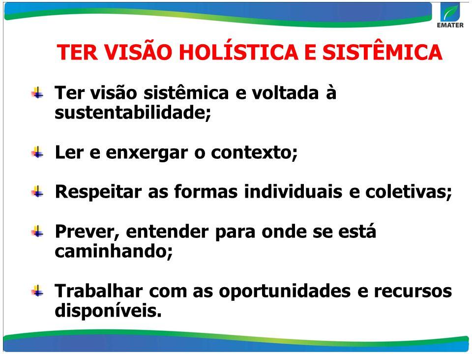 TER VISÃO HOLÍSTICA E SISTÊMICA Ter visão sistêmica e voltada à sustentabilidade; Ler e enxergar o contexto; Respeitar as formas individuais e coletiv