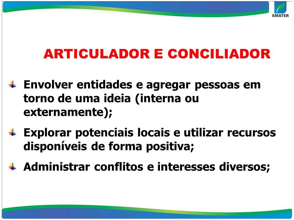 Envolver entidades e agregar pessoas em torno de uma ideia (interna ou externamente); Explorar potenciais locais e utilizar recursos disponíveis de fo