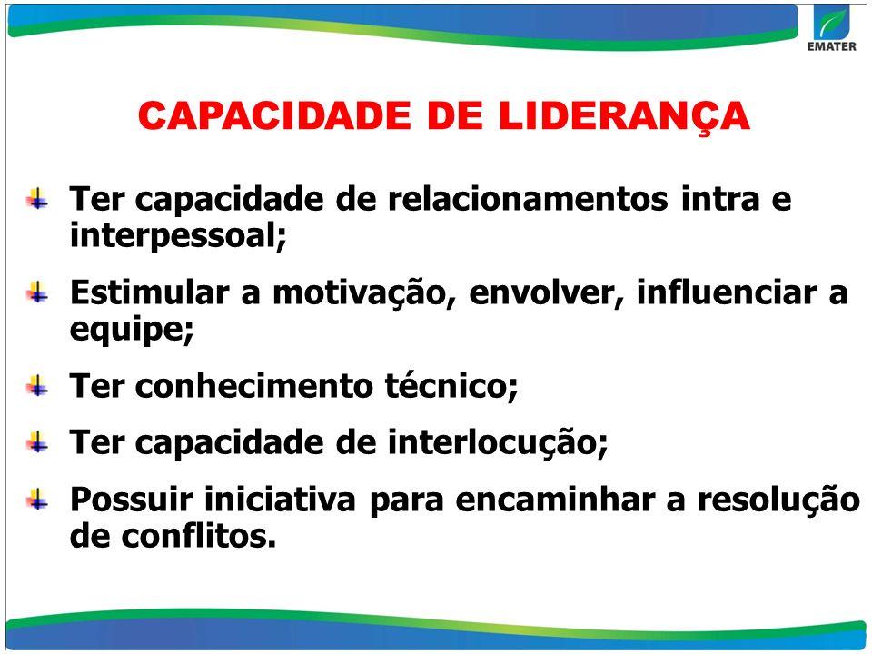 CAPACIDADE DE LIDERANÇA Ter capacidade de relacionamentos intra e interpessoal; Estimular a motivação, envolver, influenciar a equipe; Ter conheciment