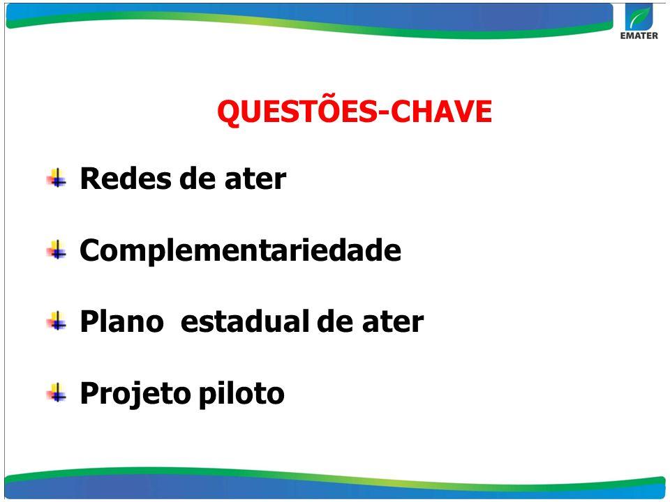 Redes de ater Complementariedade Plano estadual de ater Projeto piloto QUESTÕES-CHAVE