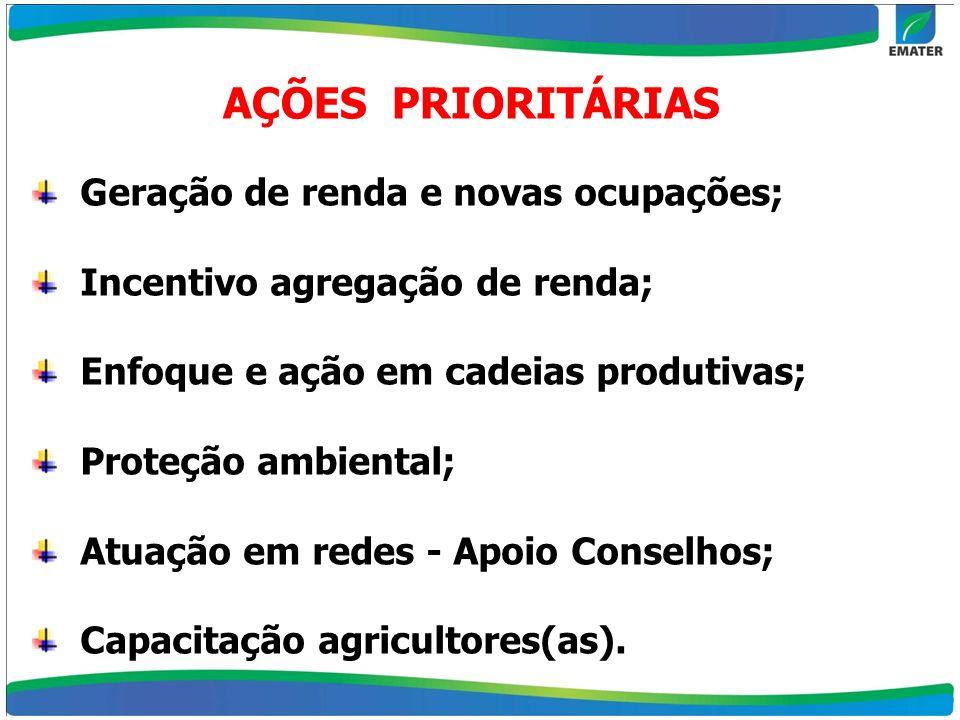 Geração de renda e novas ocupações; Incentivo agregação de renda; Enfoque e ação em cadeias produtivas; Proteção ambiental; Atuação em redes - Apoio C