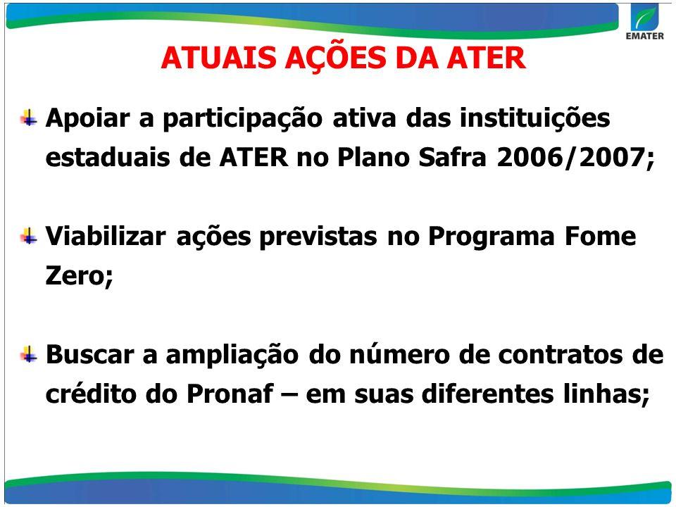 ATUAIS AÇÕES DA ATER Apoiar a participação ativa das instituições estaduais de ATER no Plano Safra 2006/2007; Viabilizar ações previstas no Programa F