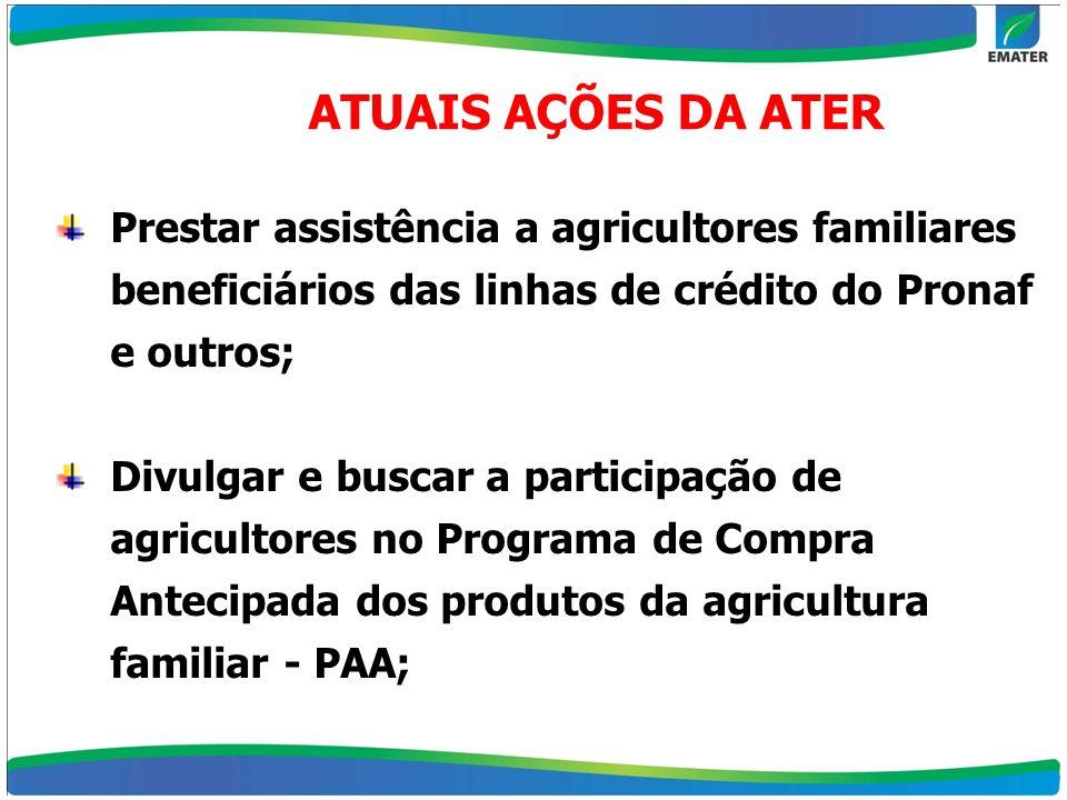 Prestar assistência a agricultores familiares beneficiários das linhas de crédito do Pronaf e outros; Divulgar e buscar a participação de agricultores