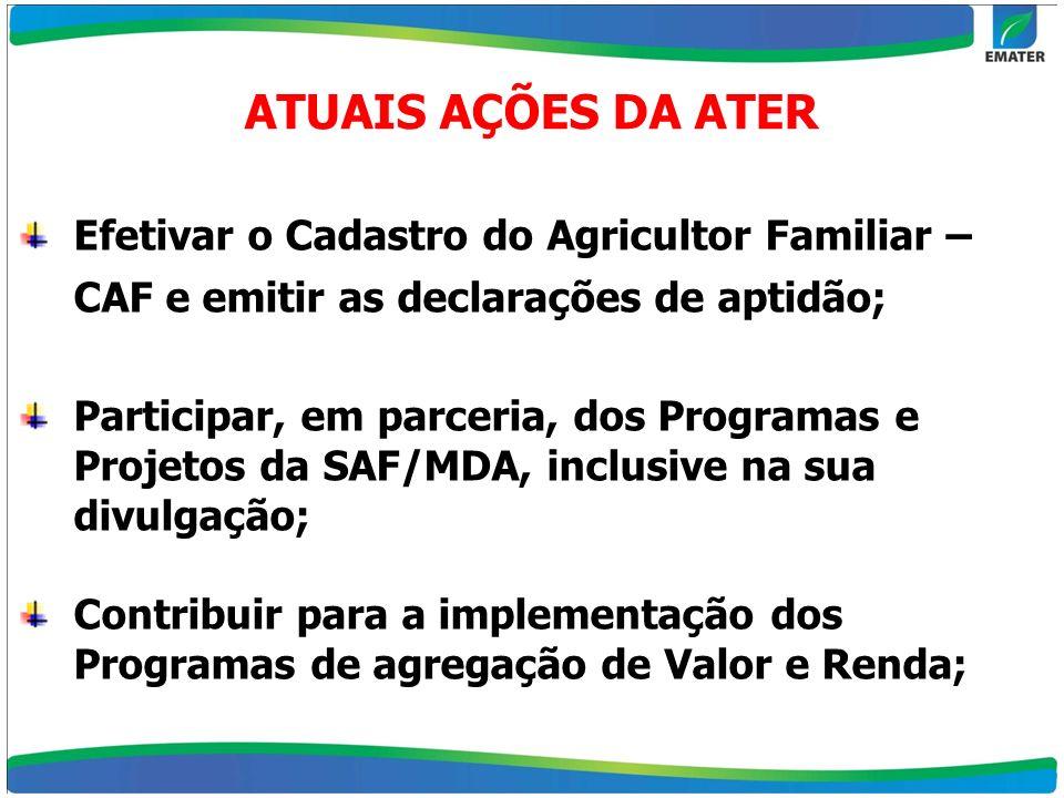 Efetivar o Cadastro do Agricultor Familiar – CAF e emitir as declarações de aptidão; Participar, em parceria, dos Programas e Projetos da SAF/MDA, inc