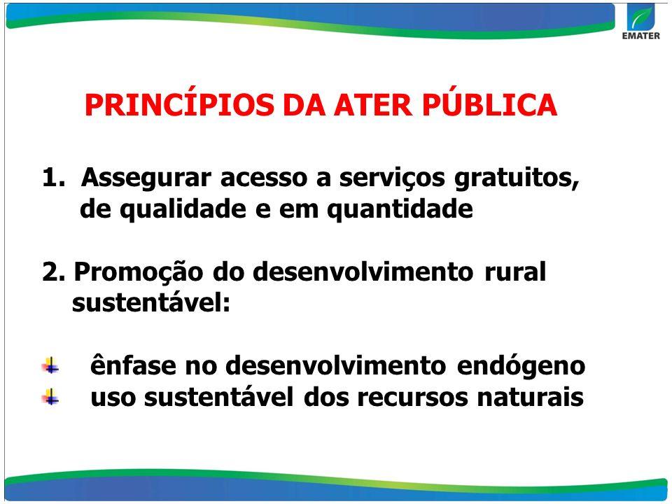 PRINCÍPIOS DA ATER PÚBLICA 1. Assegurar acesso a serviços gratuitos, de qualidade e em quantidade 2. Promoção do desenvolvimento rural sustentável: ên