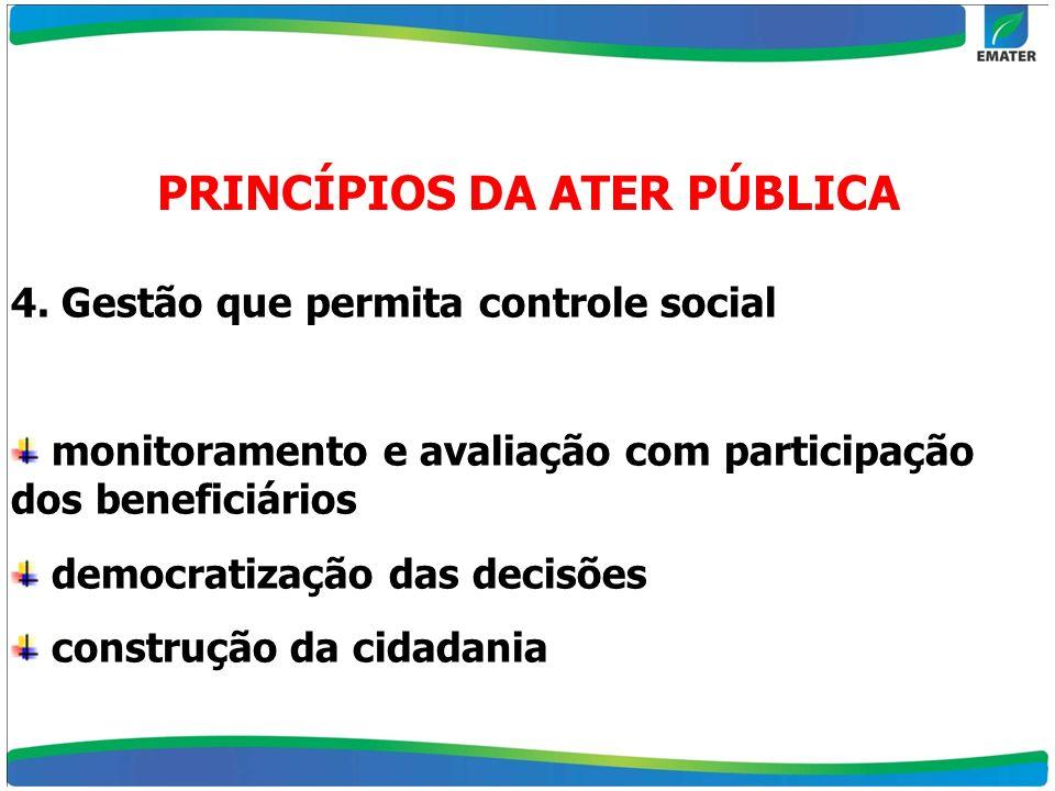 4. Gestão que permita controle social monitoramento e avaliação com participação dos beneficiários democratização das decisões construção da cidadania