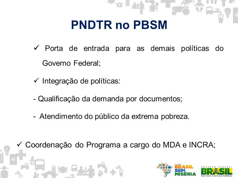PNDTR no PBSM Porta de entrada para as demais políticas do Governo Federal; Integração de políticas: - Qualificação da demanda por documentos; - Atend
