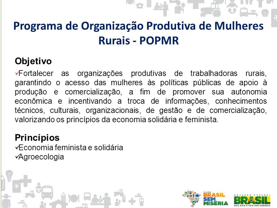 Programa de Organização Produtiva de Mulheres Rurais - POPMR Objetivo Fortalecer as organizações produtivas de trabalhadoras rurais, garantindo o aces