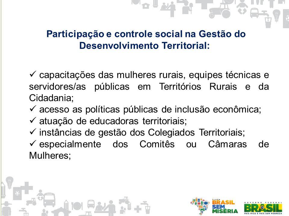 Participação e controle social na Gestão do Desenvolvimento Territorial: capacitações das mulheres rurais, equipes técnicas e servidores/as públicas e
