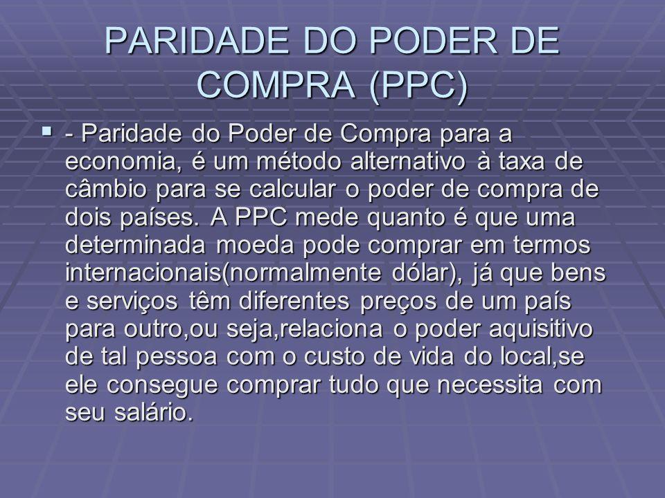 PARIDADE DO PODER DE COMPRA (PPC) - Paridade do Poder de Compra para a economia, é um método alternativo à taxa de câmbio para se calcular o poder de