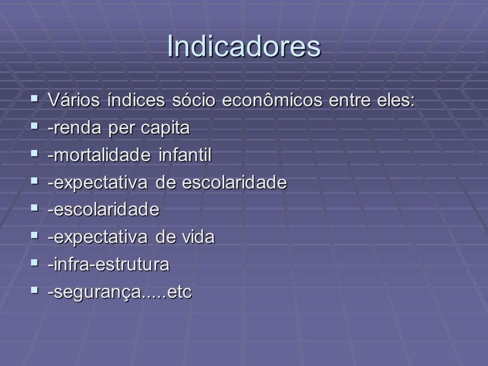 Indicadores Vários índices sócio econômicos entre eles: Vários índices sócio econômicos entre eles: -renda per capita -renda per capita -mortalidade i