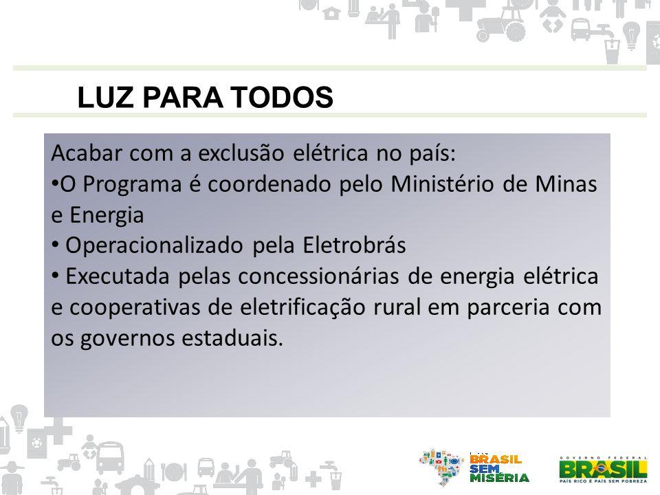 LUZ PARA TODOS Acabar com a exclusão elétrica no país: O Programa é coordenado pelo Ministério de Minas e Energia Operacionalizado pela Eletrobrás Exe