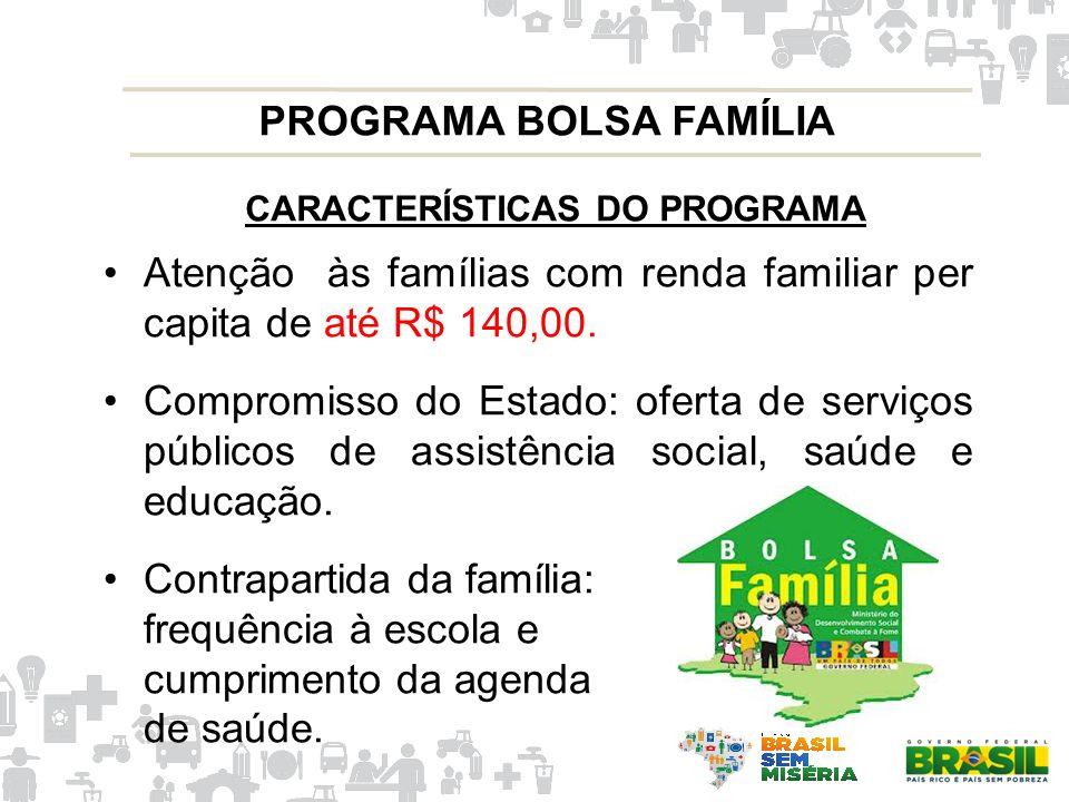 CARACTERÍSTICAS DO PROGRAMA Atenção às famílias com renda familiar per capita de até R$ 140,00. Compromisso do Estado: oferta de serviços públicos de