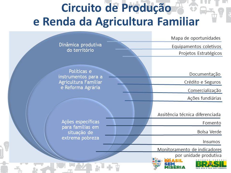 Circuito de Produção e Renda da Agricultura Familiar Mapa de oportunidades Equipamentos coletivos Projetos Estratégicos Bolsa Verde Crédito e Seguros