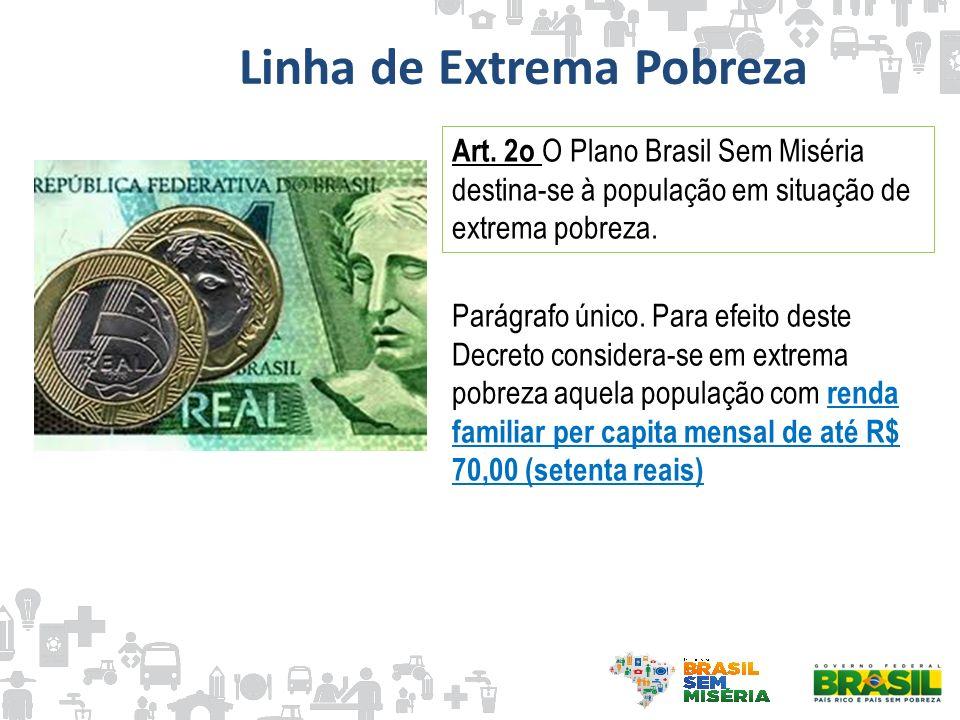 Linha de Extrema Pobreza Art. 2o O Plano Brasil Sem Miséria destina-se à população em situação de extrema pobreza. Parágrafo único. Para efeito deste
