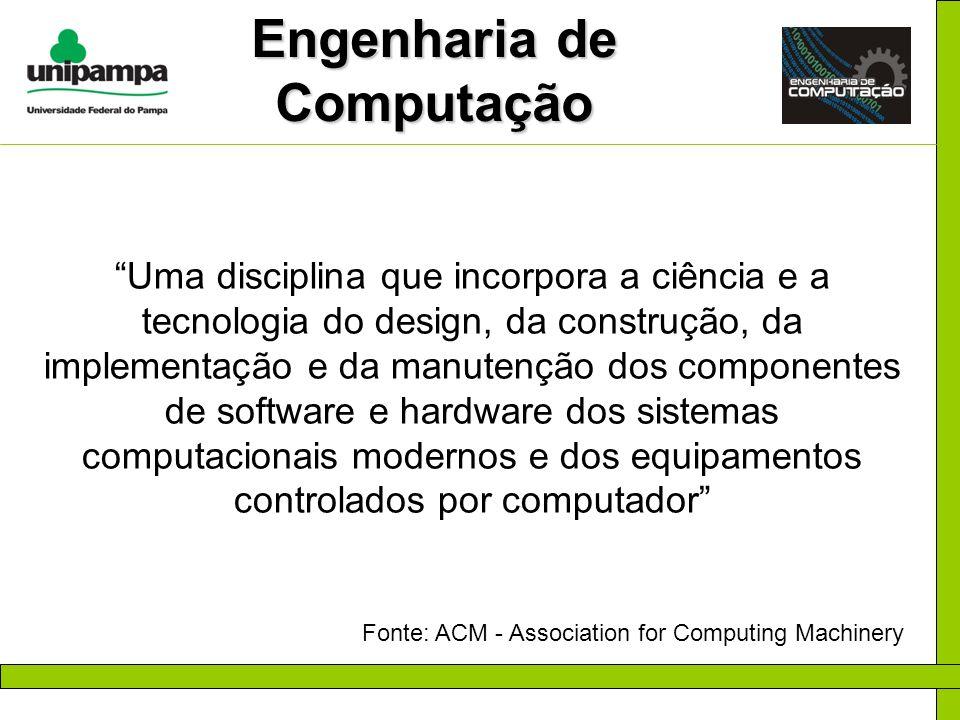 Engenharia de Computação Uma disciplina que incorpora a ciência e a tecnologia do design, da construção, da implementação e da manutenção dos componen