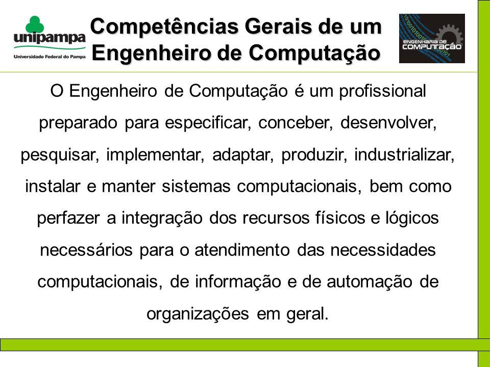 Competências Gerais de um Engenheiro de Computação O Engenheiro de Computação é um profissional preparado para especificar, conceber, desenvolver, pes