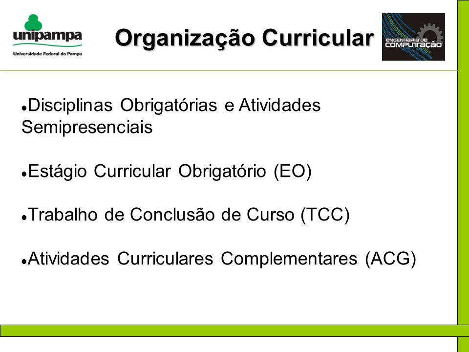 Organização Curricular Disciplinas Obrigatórias e Atividades Semipresenciais Estágio Curricular Obrigatório (EO) Trabalho de Conclusão de Curso (TCC)