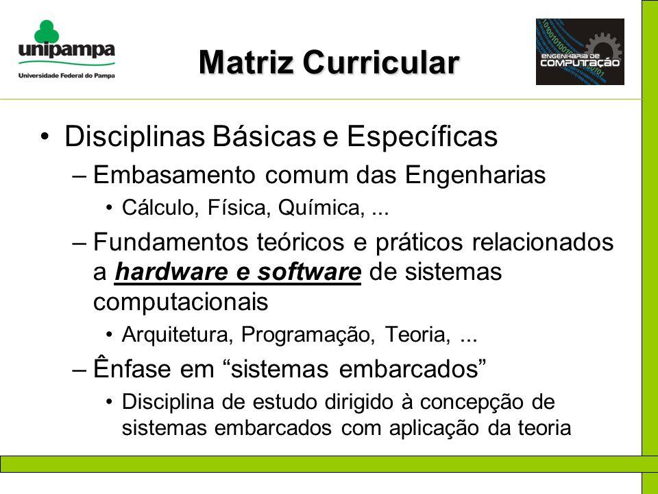 Matriz Curricular Disciplinas Básicas e Específicas –Embasamento comum das Engenharias Cálculo, Física, Química,... –Fundamentos teóricos e práticos r