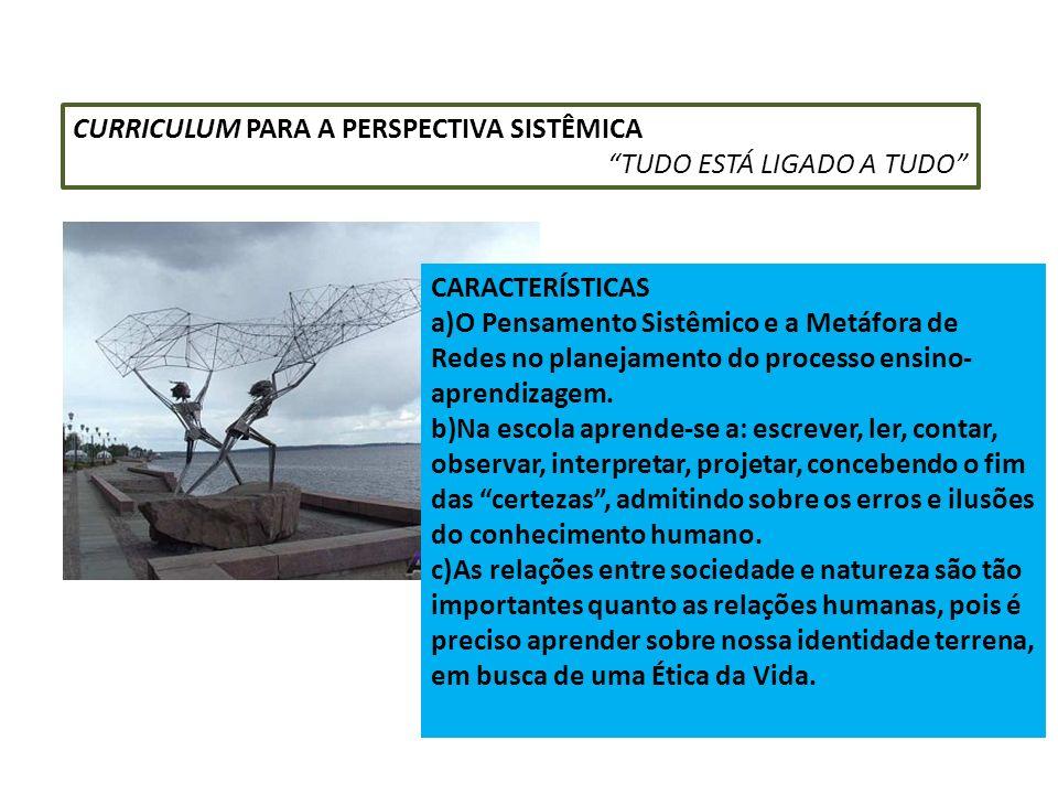 CURRICULUM PARA A PERSPECTIVA SISTÊMICA TUDO ESTÁ LIGADO A TUDO CARACTERÍSTICAS a)O Pensamento Sistêmico e a Metáfora de Redes no planejamento do proc