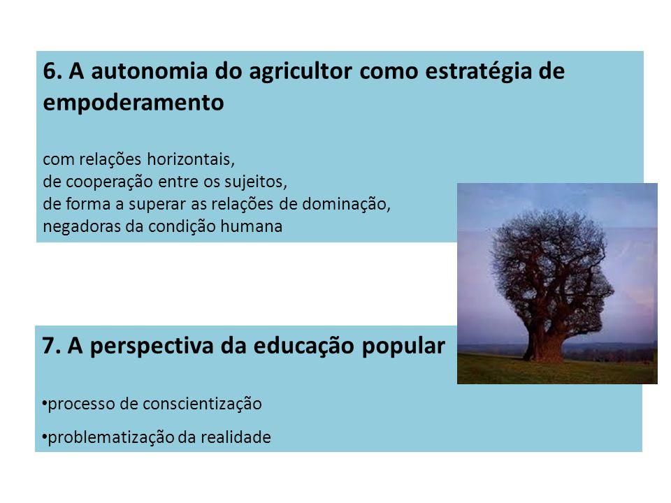 6. A autonomia do agricultor como estratégia de empoderamento com relações horizontais, de cooperação entre os sujeitos, de forma a superar as relaçõe