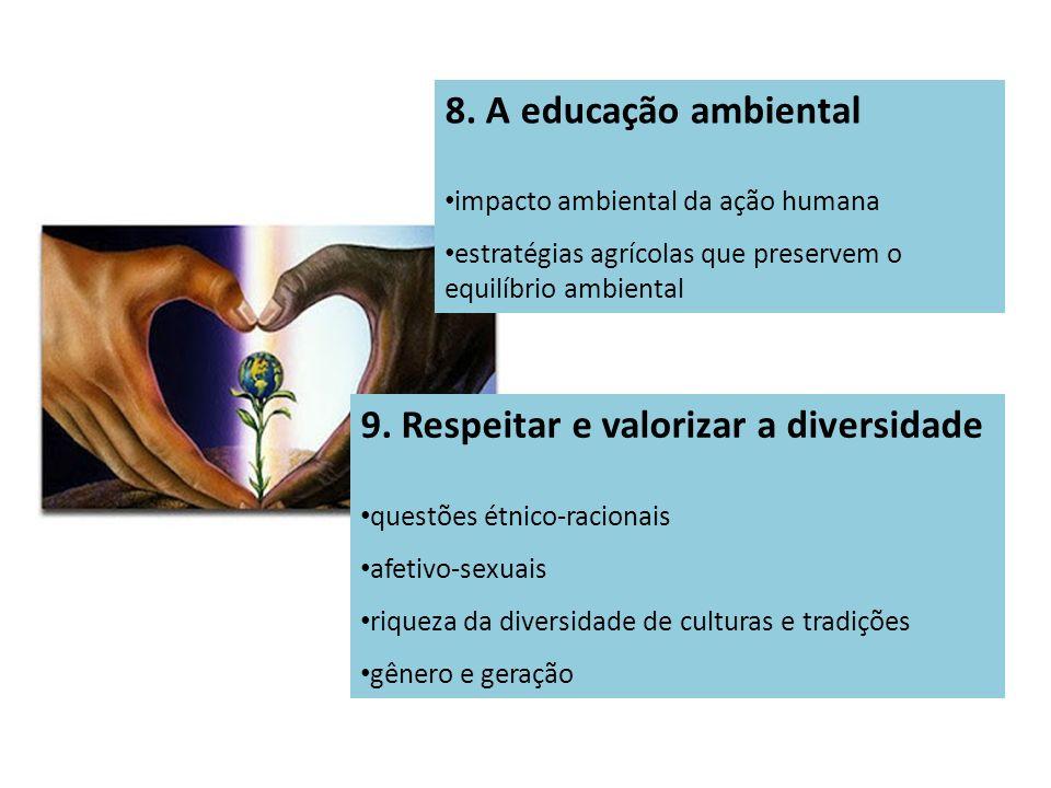 8. A educação ambiental impacto ambiental da ação humana estratégias agrícolas que preservem o equilíbrio ambiental 9. Respeitar e valorizar a diversi