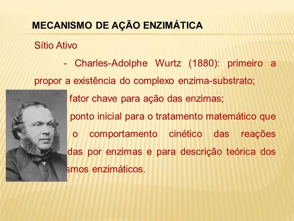 MECANISMO DE AÇÃO ENZIMÁTICA Sítio Ativo - Charles-Adolphe Wurtz (1880): primeiro a propor a existência do complexo enzima-substrato; - fator chave pa