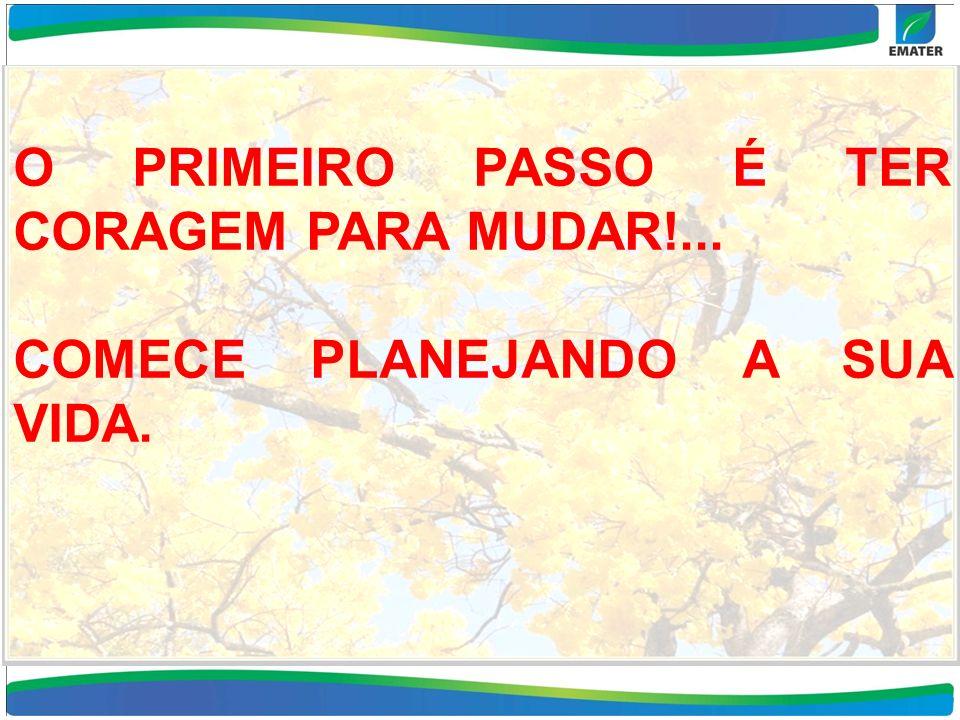 O PRIMEIRO PASSO É TER CORAGEM PARA MUDAR!... COMECE PLANEJANDO A SUA VIDA.