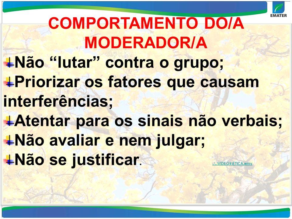 COMPORTAMENTO DO/A MODERADOR/A Não lutar contra o grupo; Priorizar os fatores que causam interferências; Atentar para os sinais não verbais; Não avali