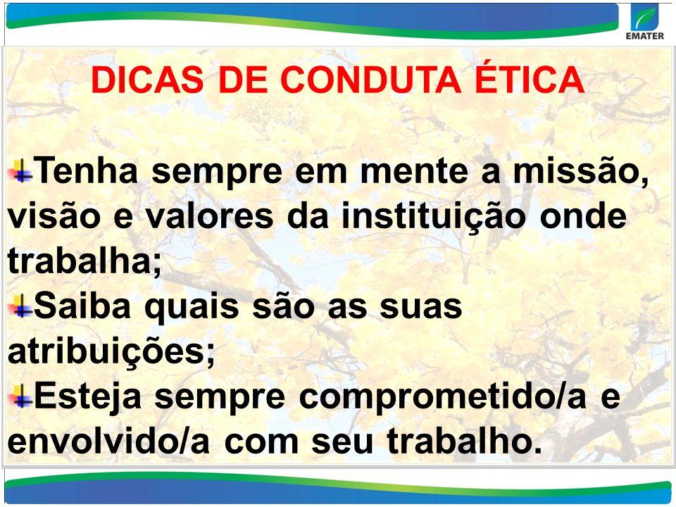 DICAS DE CONDUTA ÉTICA Tenha sempre em mente a missão, visão e valores da instituição onde trabalha; Saiba quais são as suas atribuições; Esteja sempr