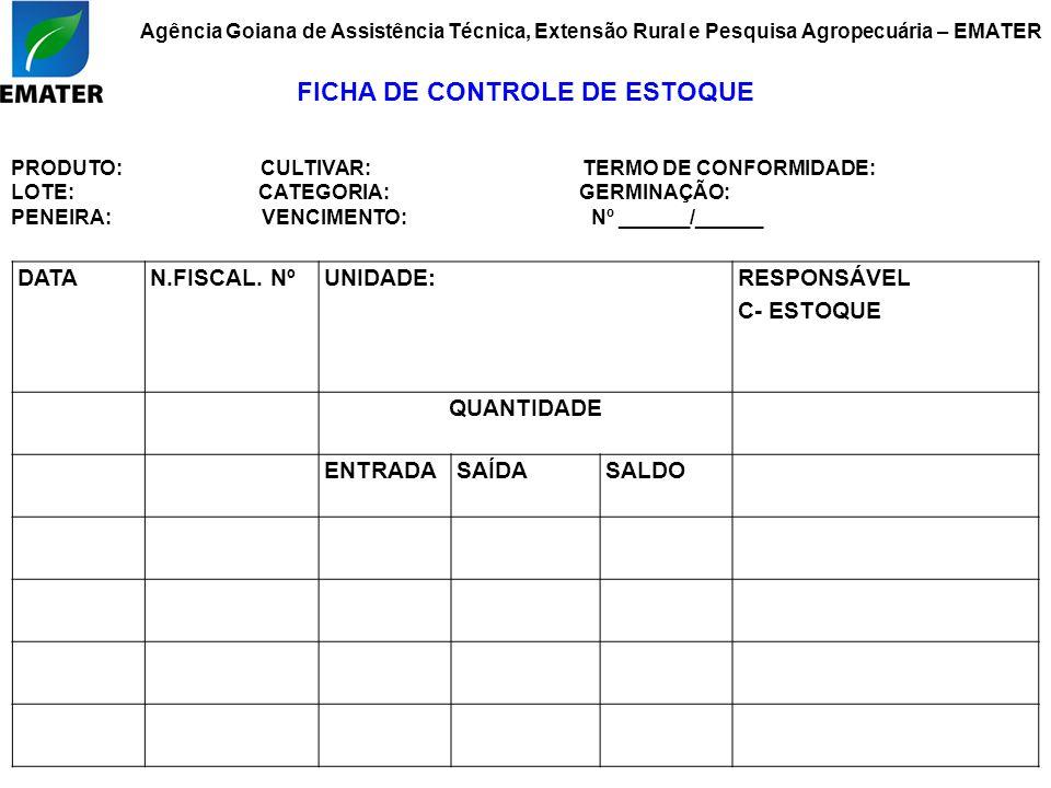 DATAN.FISCAL. NºUNIDADE: RESPONSÁVEL C- ESTOQUE QUANTIDADE ENTRADASAÍDASALDO Agência Goiana de Assistência Técnica, Extensão Rural e Pesquisa Agropecu