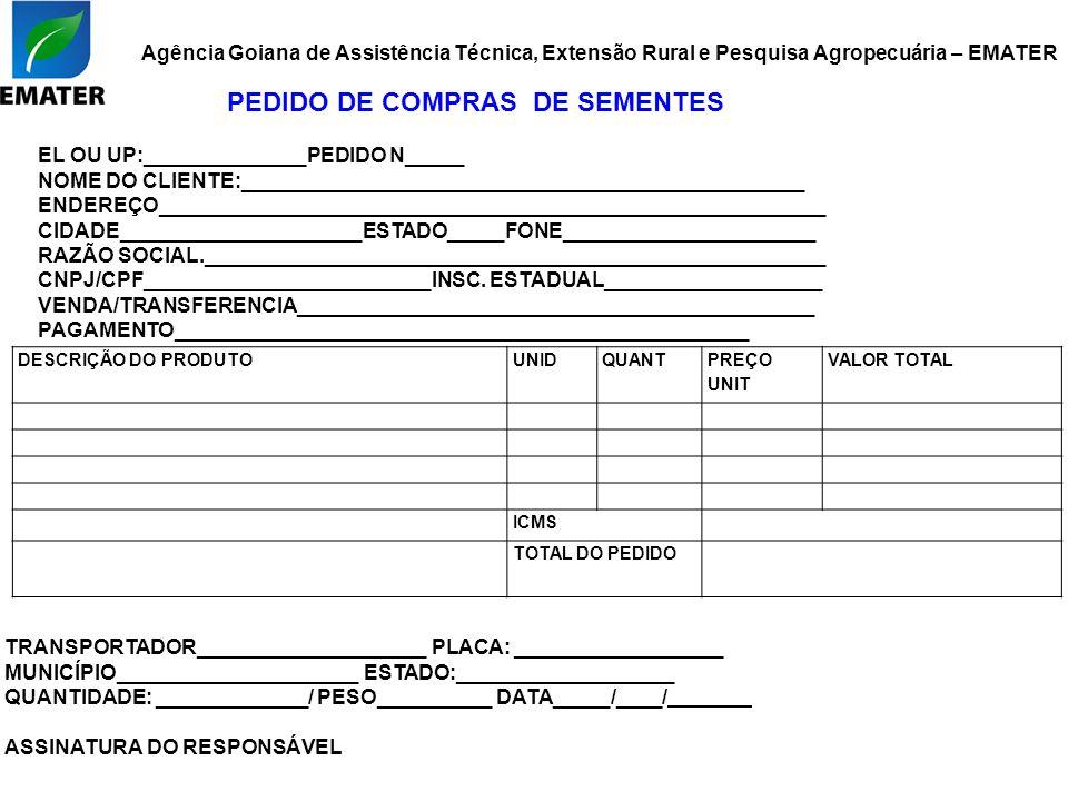 Agência Goiana de Assistência Técnica, Extensão Rural e Pesquisa Agropecuária – EMATER DESCRIÇÃO DO PRODUTOUNIDQUANT PREÇO UNIT VALOR TOTAL ICMS TOTAL