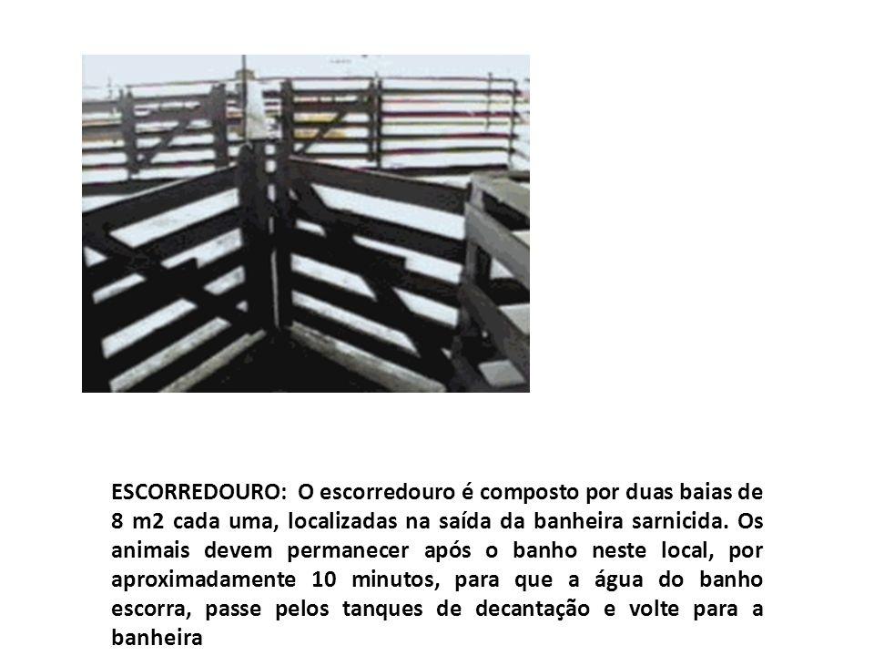 ESCORREDOURO: O escorredouro é composto por duas baias de 8 m2 cada uma, localizadas na saída da banheira sarnicida. Os animais devem permanecer após