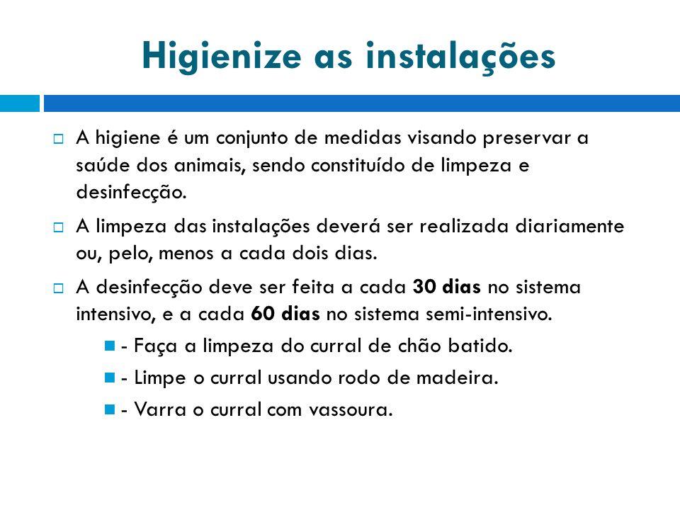 Higienize as instalações A higiene é um conjunto de medidas visando preservar a saúde dos animais, sendo constituído de limpeza e desinfecção.