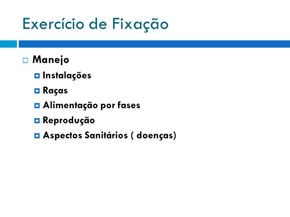 Exercício de Fixação Manejo Instalações Raças Alimentação por fases Reprodução Aspectos Sanitários ( doenças)