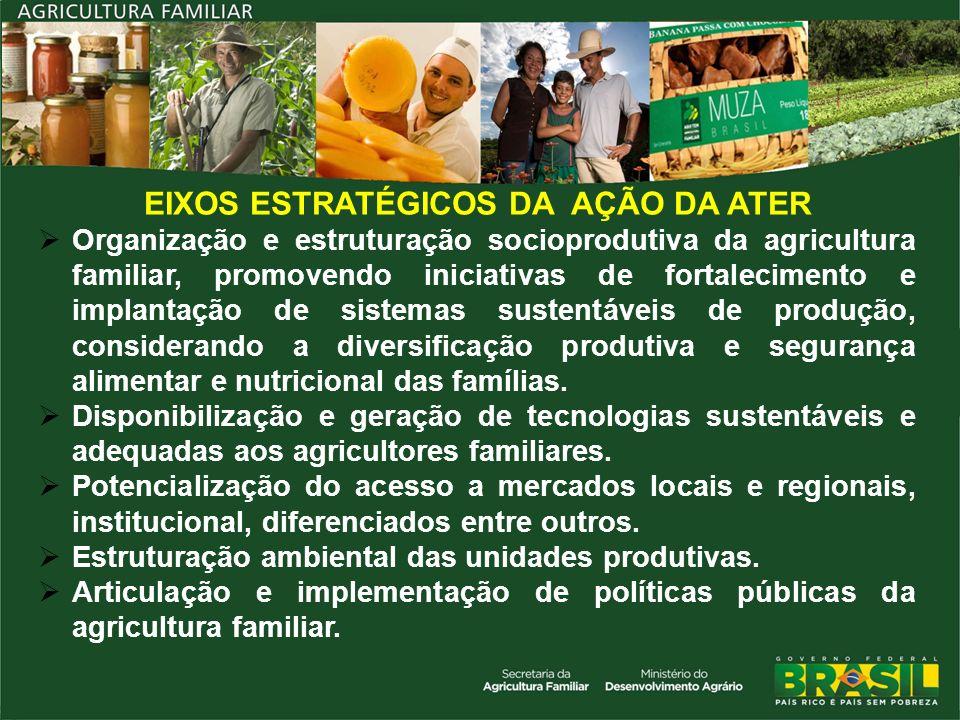 EIXOS ESTRATÉGICOS DA AÇÃO DA ATER Organização e estruturação socioprodutiva da agricultura familiar, promovendo iniciativas de fortalecimento e impla