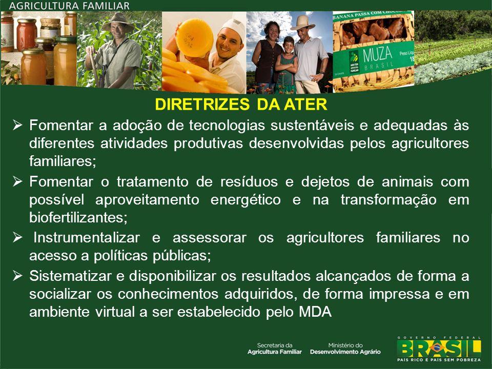 DIRETRIZES DA ATER Fomentar a adoção de tecnologias sustentáveis e adequadas às diferentes atividades produtivas desenvolvidas pelos agricultores fami