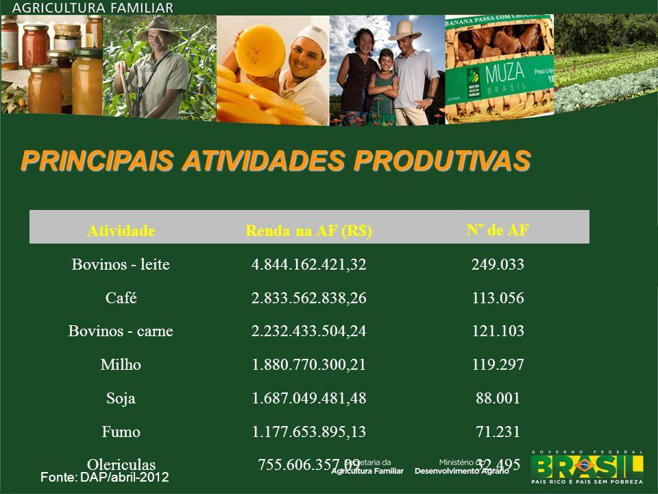 PRINCIPAIS ATIVIDADES PRODUTIVAS AtividadeRenda na AF (R$) N° de AF Bovinos - leite4.844.162.421,32249.033 Café2.833.562.838,26113.056 Bovinos - carne