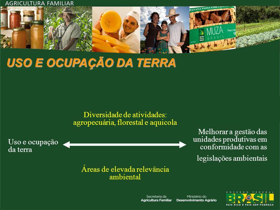 USO E OCUPAÇÃO DA TERRA Uso e ocupação da terra Diversidade de atividades: agropecuária, florestal e aquicola Melhorar a gestão das unidades produtiva
