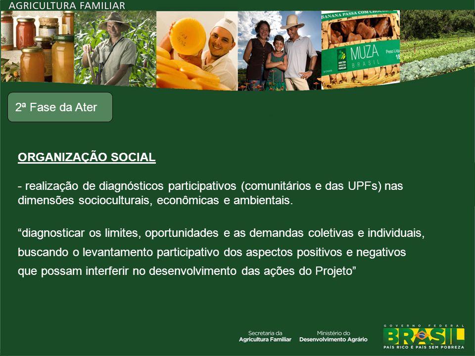 ORGANIZAÇÃO SOCIAL - realização de diagnósticos participativos (comunitários e das UPFs) nas dimensões socioculturais, econômicas e ambientais. diagno