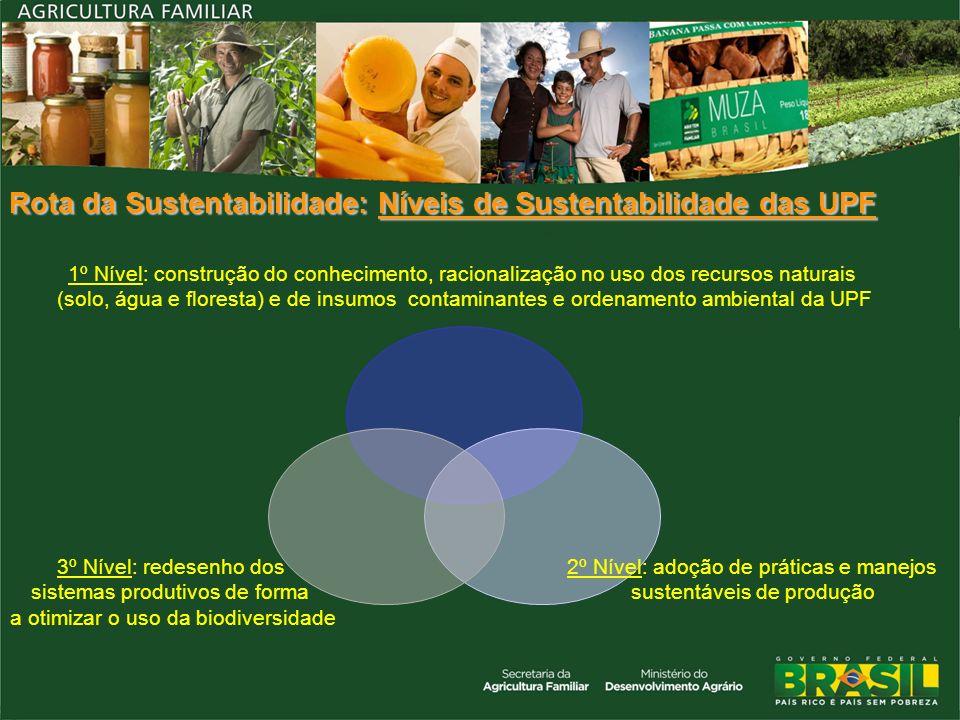 Rota da Sustentabilidade: Níveis de Sustentabilidade das UPF 1º Nível: construção do conhecimento, racionalização no uso dos recursos naturais (solo,