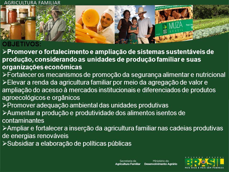 OBJETIVOS: Promover o fortalecimento e ampliação de sistemas sustentáveis de produção, considerando as unidades de produção familiar e suas organizaçõ